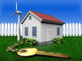3d golden key over grass and fence