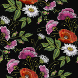 Embroidery chamomile pink flowers and poppies seamless pattern. Beautiful bouquet of spring flowers, poppies, white chamomile,  classic embroidery seamless background for clothes vector - 173629404