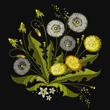 Embroidery Dandelions. Beautiful white dandelions classical embroidery, template for clothes and textiles, t-shirt design
