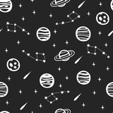 Seamless Space Pattern. Seamless Background with Space Elements