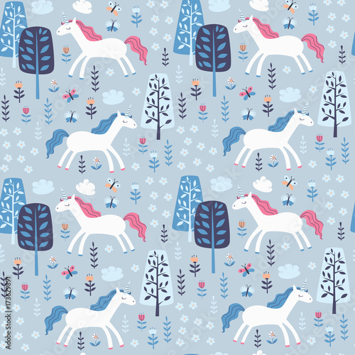 Cotton fabric Seamless Pattern with Cute Unicorn
