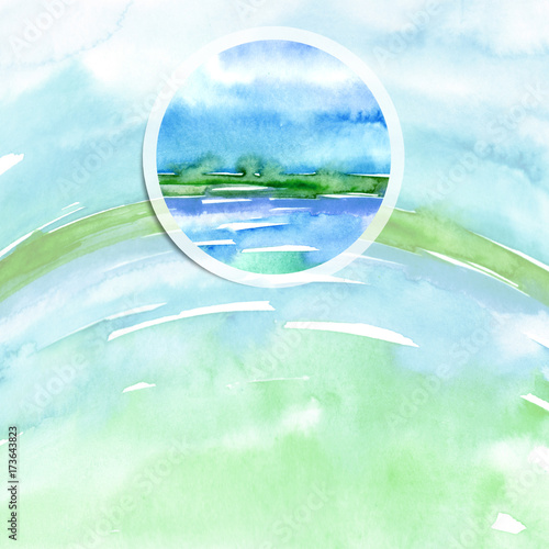 Staande foto Lichtblauw Watercolor logo, advertisement, poster, background. Ecological drawing, earth, water, sea, sky, air. Blue, green, an adherent stain, a fashionable illustration with a round element