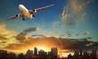 passenger plane departure against beautiful city building background