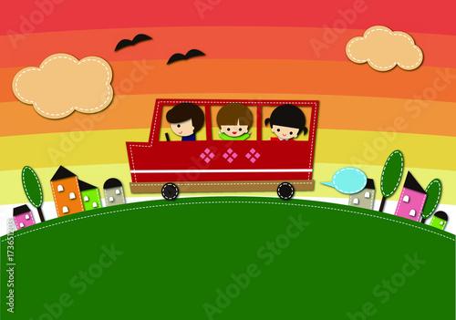 Fotobehang Auto 夕方の送迎バス