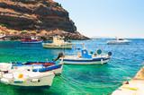 Fishing boat in the port of Santorini island, Greece - 173653081