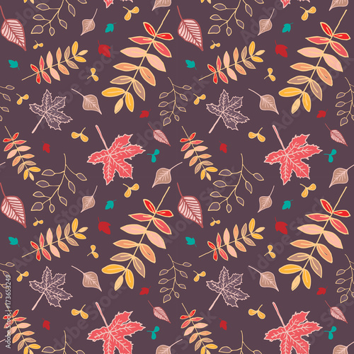 Autumn leaves pattern with reddish brown background. - 173653249