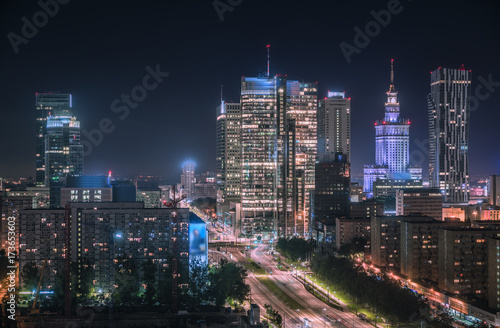 Fototapety, obrazy : Warsaw downtown at night, Poland. Polish capital