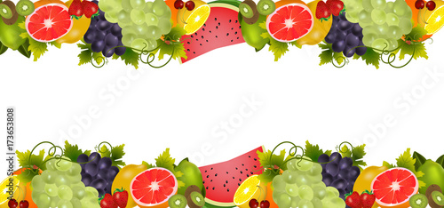 Background With Organic Fresh Fruits. - 173653808