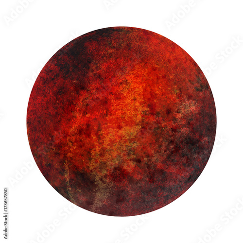 Papiers peints Nasa Mars red planet isolated on white background, high resolution. 3D illustration.