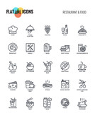Flat line icons design-Restaurant and food - 173661828
