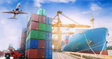 Business import & export as in logistics background. - 173663403