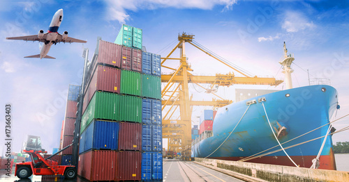 Business import & export as in logistics background.