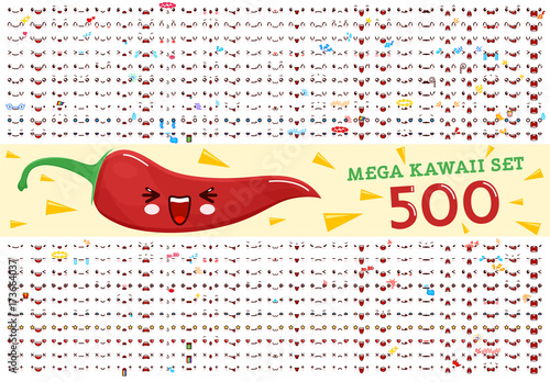 500 Mega set of cute kawaii emoticon face and chili pepper kawaii. Collection emoticon manga, cartoon style. Vector illustration. Adorable characters icons design - 173664037