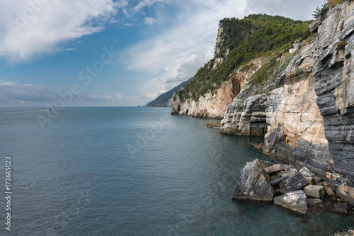 Poster Liguria Portovenere cliffs view panorama