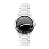Men watch with metal bracelet. Roman numerals on black clockface - 173666061