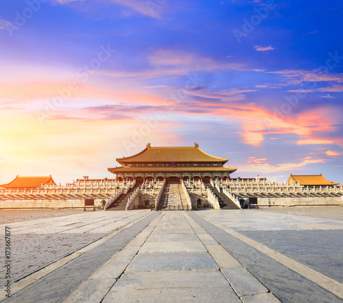 Foto op Canvas Peking Beijing forbidden city scenery at sunset,China,Chinese symbols