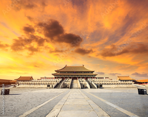 Deurstickers Peking Beijing forbidden city scenery at sunset,China,Chinese symbols