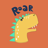 cute dinosaur head drawing for baby fashion, kids textile prints cute illustration
