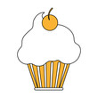 cup cake glazed cherry icon vector illustration graphic design
