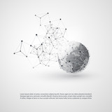 Abstract Cloud Computing and Global Network Connections Concept Design with Transparent Geometric Mesh, Earth Globe - Illustration in Editable Vector Format - 173676228