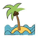 sea island beach palms vector icon illustration graphic design - 173677653