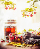 Autumn still life with cup and tea pot with red berries, scarf  and fall leaves at sunny nature background - 173679246