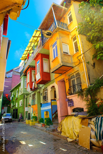 Istanbul, the streets of the old city, the houses are painted in bright colors Poster