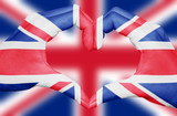 United kingdom flag painted on hands forming a heart isolated on blurred Union Jack background, UK national and patriotism concept - 173686290