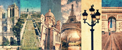 Paris France, panoramic photo collage vintage style, Paris landmarks travel and tourism concept