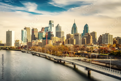 Poster Panoramic picture of Philadelphia skyline and Schuylkill river, PA, USA.