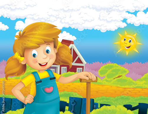 cartoon scene with happy girl working on the farm - standing and smiling / illustration for children - 173693095
