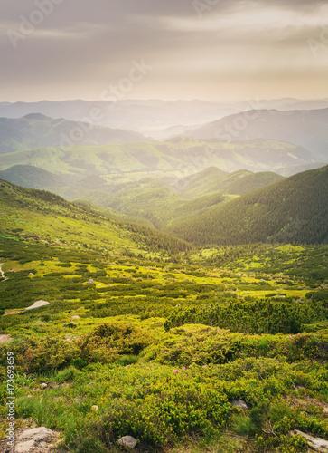 Aluminium Lente Summer mountains green grass and blue sky