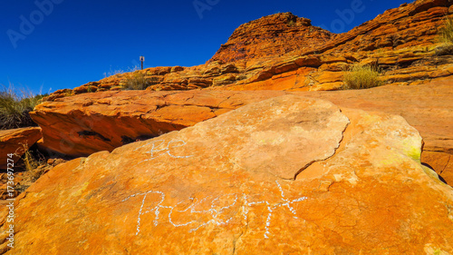 Aluminium Oranje eclat Kings Canyon in the desert of Australia