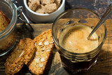 Italian dessert, espresso and cantucci cookies, top view - 173698686