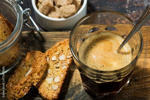 Italian dessert, espresso and cantucci cookies, top view