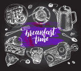 Breakfast set. Kettle, coffee in a cup, tea, waffles on a plate, apple pie, toast. Food elements collection. Vector ink hand drawn illustration with modern brush calligraphy style lettering. - 173699620