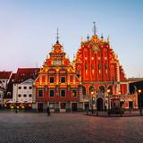 Illuminated House of the Blackheads in Riga, Latvia - 173700694