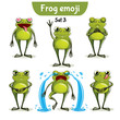 Vector set of cute ffrog characters. Set 3