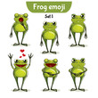 Vector set of cute frog characters. Set 1