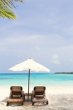 White parasol with sun chairs - 173705423