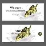 Gift voucher. Vector. Grapes in cream. - 173705811