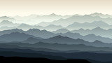 Horizontal illustration of morning misty mountain landscape.