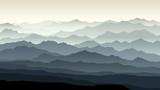 Horizontal illustration of morning misty mountain landscape. - 173707480