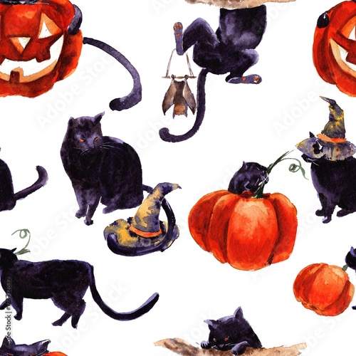 Materiał do szycia Set Of Cat Cartoon With Different Actions, Halloween
