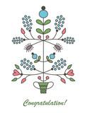 Graphic vector flowers in flowerpot
