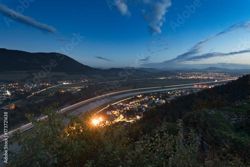 Poster Nacht snelweg night highway near Povazska Bystrica, Slovakia