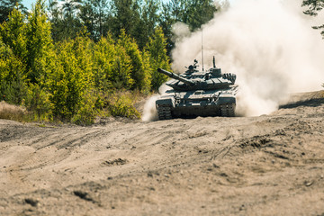 Main battle tank are going to dust on the ground for military exercises