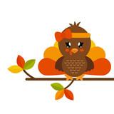 cute turkey girl on a branch - 173723295