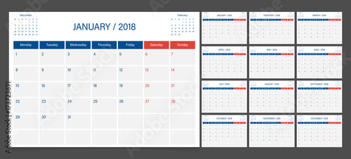 Calendar 2018 week start on Monday corporate design planner template.