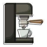 coffee espresso machine side view colorful watercolor silhouette